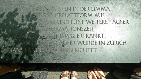 Anabaptist plaque in Zurich.