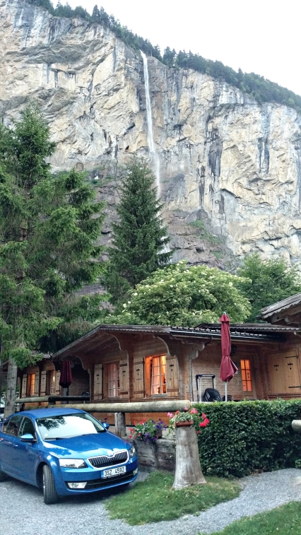 Our car and cabin in Lauterbrunnen.