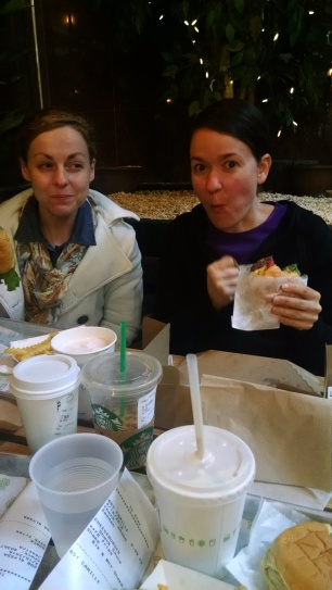 Friends enjoying Shake Shack.