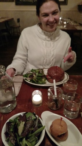 Jenn and her meatball sandwich.