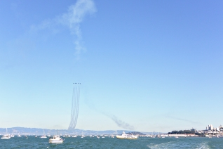 Blue Angels over San Francisco's Bay.