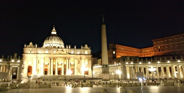 Vatican City at night.