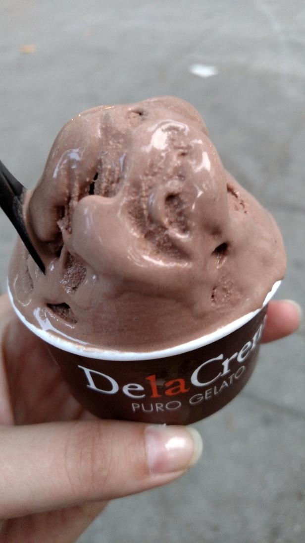 Dela Crem gelato on our walk home.