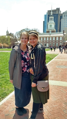 My sisters and Independence Hall.