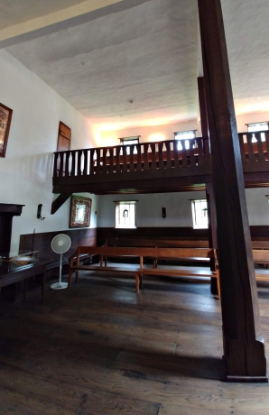 The shared 'living room' space, turned chapel.